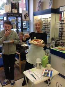 Ann helps herself to some Pavlova!